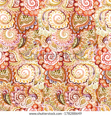 Seamless ornamental ethnic pattern with indian eastern vivid aquarelle red-brown ornament - stock photo