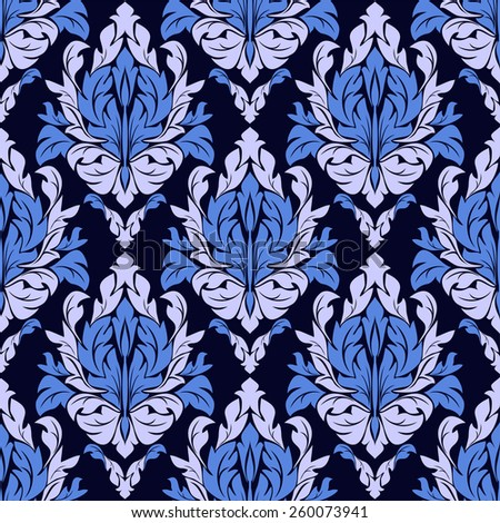 Seamless ornamental  floral Pattern in blue colors. Raster version.