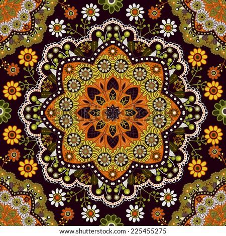 Seamless ornamental pattern - stock photo