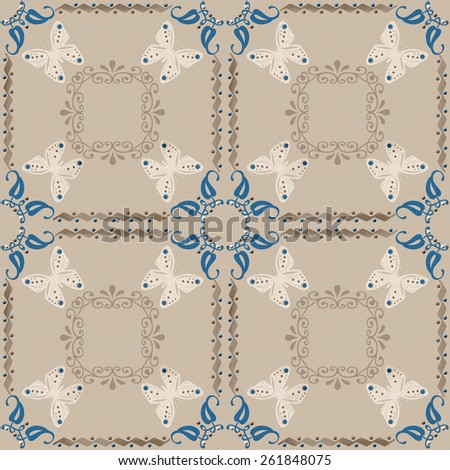 Seamless ornamental pattern decoration elements texture, tile brown design background - stock photo