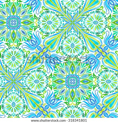 seamless ornamental tiles pattern. colorful ornaments with embellished flowers and lace, and paisley elements. very colorful and beautiful texture. bohemian festival style. - stock photo