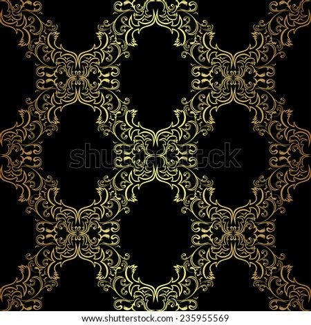 Seamless ornamental Wallpaper - gold on black. Raster version. - stock photo