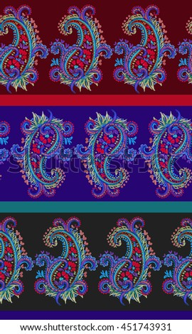 seamless paisley pattern with horizontal stripes. Dramatic dark traditional spicy colors. Very intricate drawing of lace like paisleys. - stock photo