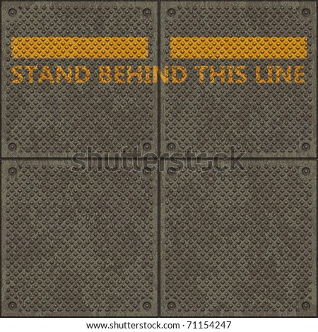 """Seamless panel texture with a warning yellow line and the words """"STAND BEHIND THIS LINE"""" - stock photo"""