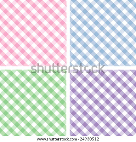Seamless Pastel Cross weave Gingham Pattern Tiles: pink, blue, green, lavender.