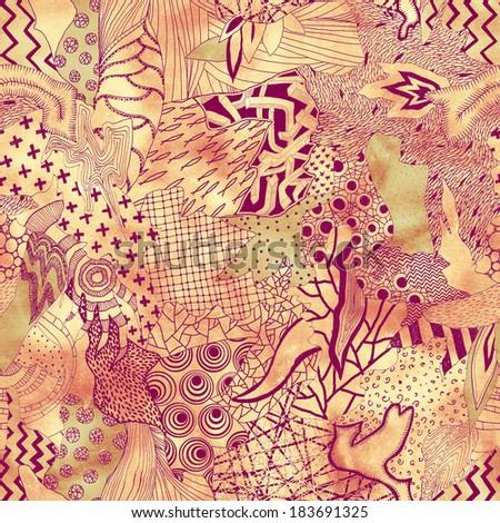 Seamless patchwork illustration - stock photo