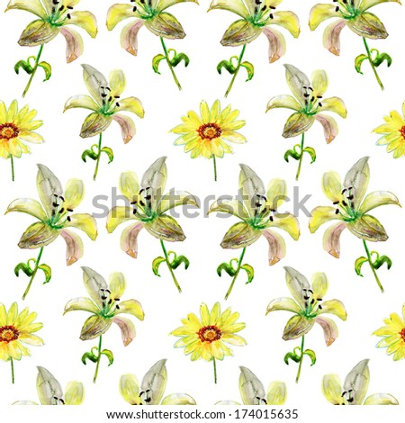 Seamless patter with yellow  flowers, watercolor illustration - stock photo