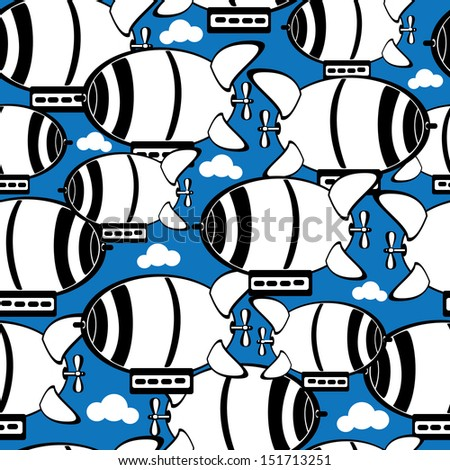 seamless pattern airship in the clouds - stock photo