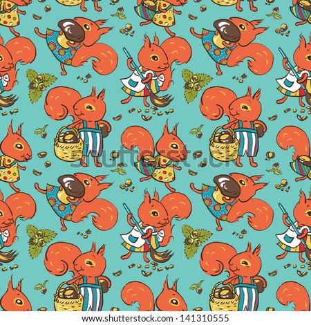 Seamless pattern - amusing cartoon squirrels in clothes with mushrooms and nuts