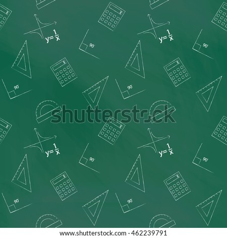 Seamless pattern back to school. green blackboard written with white chalk schedule, formula, line, triangle, calculator, protractor and angle. Design elements for the design of school manuals