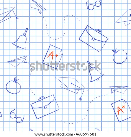 Seamless pattern back to school. White sheet blue squared writing ink cap, hat, bag, apple, Paper Airplane, rating A. School background for design covers notebooks and textbooks - stock photo