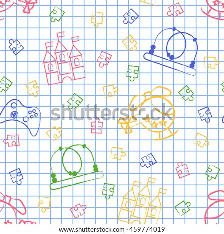Seamless pattern back to school. White sheet blue squared writing ink Hand-drawn style. Seamless wallpaper with the image of Helicopter, puzzle, a maze, a castle, a joystick