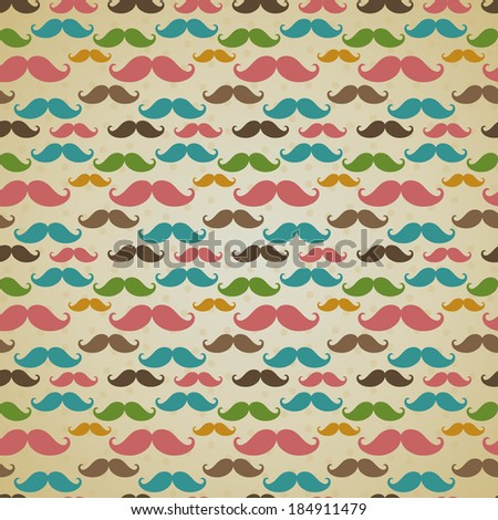 Seamless pattern, background or texture with colorful curly vintage retro gentleman mustaches. For hipster websites, desktop wallpaper, blog, web design.  - stock photo