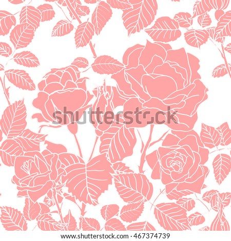 seamless pattern background set of flowers, roses, leaves, black lines, white background