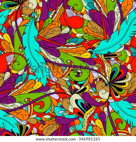 Seamless pattern background with abstract ornaments, feathers , leaves , waves. Hand draw illustration