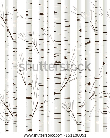 Seamless pattern, background with birch wood trees over white background - stock photo