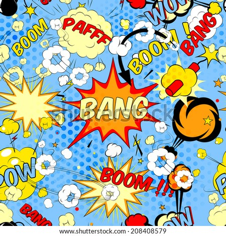 Seamless pattern background with comic book speech bubbles illustration - stock photo