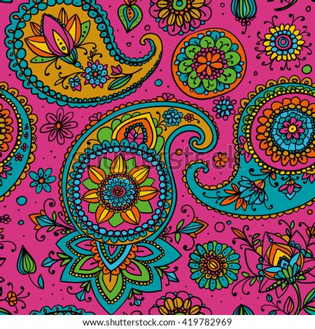 Seamless pattern based on traditional Asian elements Paisley. Bright pink.