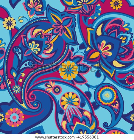 Seamless pattern based on traditional Asian elements Paisley. Bright pink and blue. - stock photo