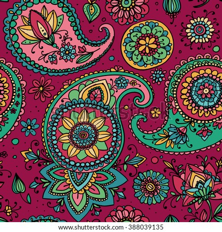 Seamless pattern based on traditional Asian elements Paisley. Burgundy and green. - stock photo