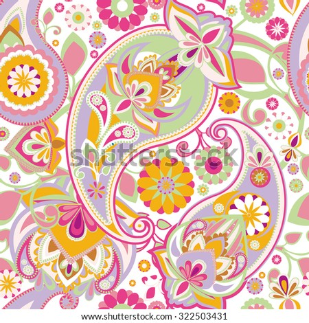 Seamless pattern based on traditional Asian elements Paisley. Delicate pink tone. Raster version - stock photo