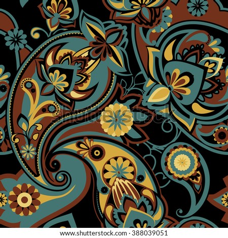 Seamless pattern based on traditional Asian elements Paisley. Gray and brown. - stock photo