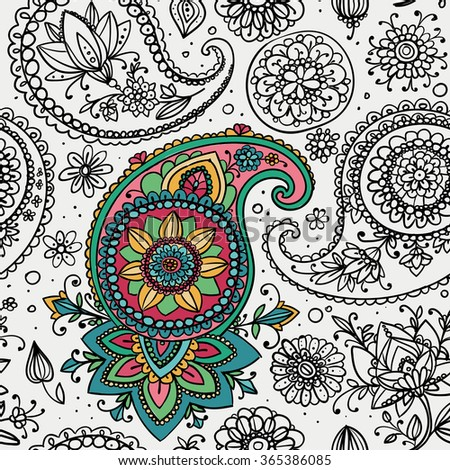 Seamless pattern based on traditional Asian elements Paisley. Partly colored contour drawing. - stock photo