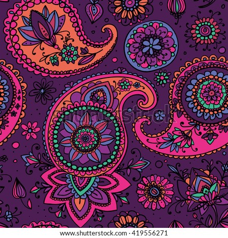 Seamless pattern based on traditional Asian elements Paisley. Purple and pink.