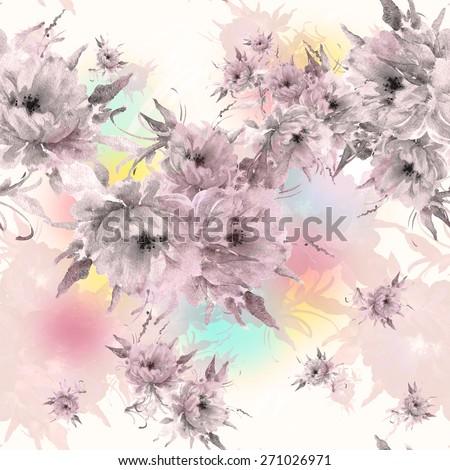 Seamless pattern beautiful bright flowers  H - stock photo