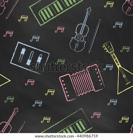 Seamless pattern black chalk board with color children's chalk drawings. Hand-drawn style. Seamless wallpaper with the image of musical instruments piano, balalaika, mixer, violin bow, note - stock photo