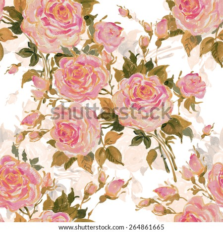 Seamless pattern bouquet of bright pink roses. Beautiful pattern of motif handmade paint on paper. Vintage decor. Making any printed products. Fashionable print. - stock photo