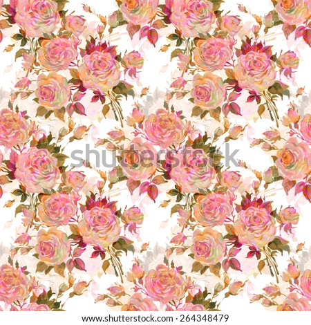 Seamless pattern bouquet of bright roses - stock photo