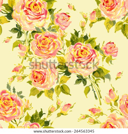 Seamless pattern bouquet of bright roses. Beautiful pattern of motif handmade paint on paper. Vintage decor. Making any printed products.Fashionable print.  Original background for design and decor. - stock photo