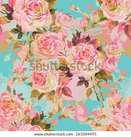 Seamless pattern bouquet of bright roses. Beautiful pattern of motif handmade paint on paper. Vintage decor. Making any printed products. Fashionable print. Original background for design and decor - stock photo