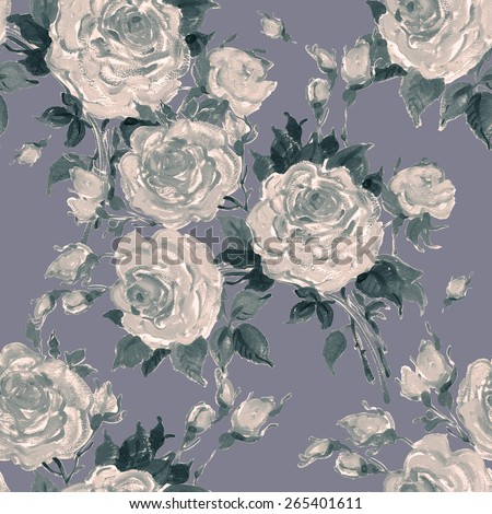 Seamless pattern bouquet of bright roses. Beautiful pattern of motif handmade paint on paper. Vintage decor. Making any printed products. Fashionable print.fine print in grunge style. - stock photo