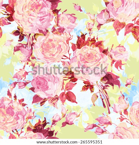 Seamless pattern bouquet of bright roses. delicate vintage roses. Beautiful pattern of motif handmade paint on paper. Vintage decor. Making any printed products. Fashionable print. - stock photo