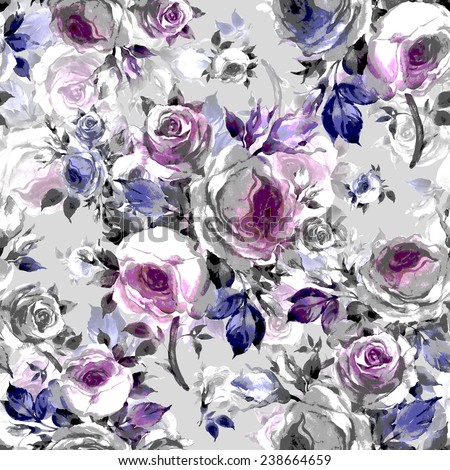 Seamless pattern bouquets of roses I - stock photo