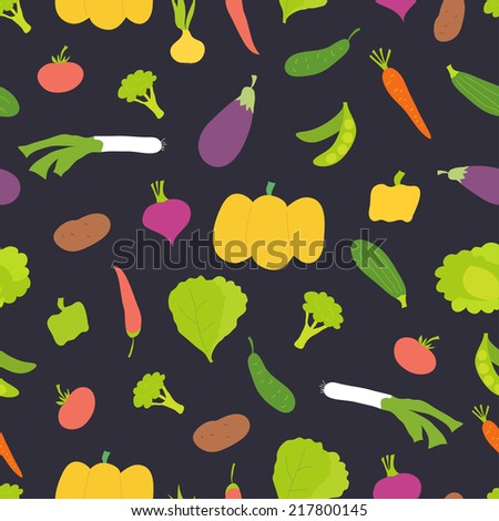 Seamless pattern. Bright vegetables on dark background. Can be used for textile, wallpaper, wrapping.