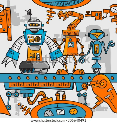 Seamless pattern cartoon robots on the assembly line - stock photo