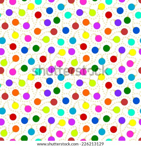 Seamless Pattern - Christmas theme seamless pattern on white background with multicolored plain christmas ornaments joined together by beads. Vector version also in portfolio. - stock photo