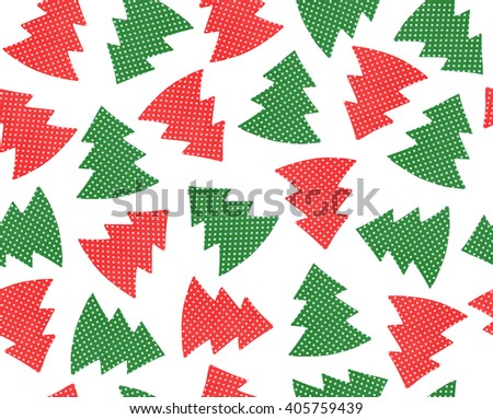 Seamless pattern Christmas trees isolated. - stock photo