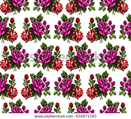 Seamless. Pattern. Color bouquet of flowers roses  using traditional Ukrainian embroidery elements. Can be used as pixel-art, card, emblem, icon. Red, pink and green tones. - stock photo
