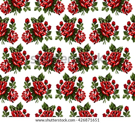 Seamless. Pattern. Color bouquet of flowers roses  using traditional Ukrainian embroidery elements. Can be used as pixel-art, card, emblem, icon. Red and green tones. - stock photo