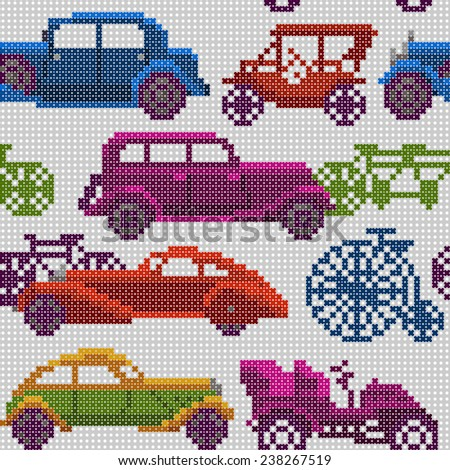 seamless pattern - colorful old timer cars and bicycles on a light background - stock photo