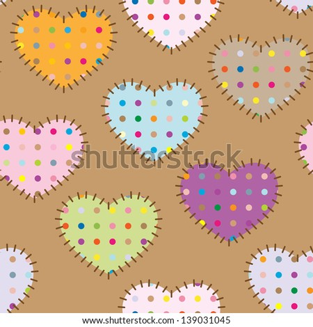 Seamless pattern - colorful patches hearts with dots. raster version, vector file also included - stock photo