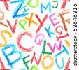 Seamless pattern - Crayon alphabet over white background - stock photo