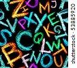 Seamless pattern - Crayon alphabet over white background - stock photo