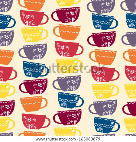 Seamless pattern: cups with floral pattern