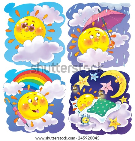 Seamless pattern. Cute sun with different emotions in different weather conditions. Illustration for children. - stock photo