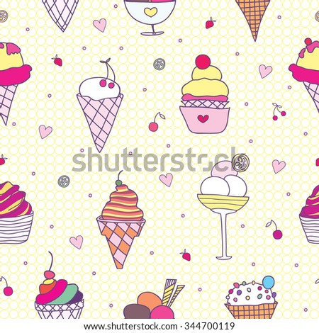 seamless pattern delicious ice cream.